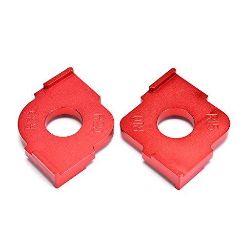 YUEKUN Aluminio Mesa de Fresadora Carpintero Esquina Radio Plantilla, 2Pcs Panel Madera Rápido Brocas Plantilla Ángulo Alta Precisión Localizador Carpintería Herramienta - Rojo
