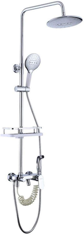 FJIE Wandmontage Dusche Wasserhahn Komplettset, Dusche Combo Set Für Badezimmer, Dusche Set Mit Seifenablage Rack