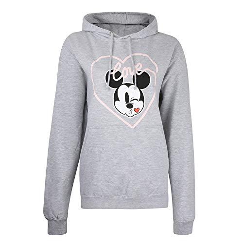 Disney Mickey Love Kiss Hoodie Sudadera con Capucha, Gris, L para Mujer