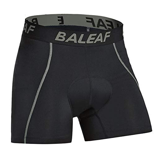 BALEAF Men's Cycling Underwear Shorts 3D Padded Bike Bicycle Pants Quick-Dry Tights Gray Size L