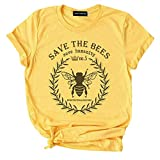 Tiffley Time Women's Save The Bee Graphic Round Neck Short Sleeve Summer T-Shirts