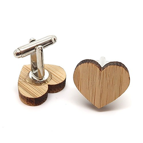BOBIJOO Jewelry - Paire Boutons de Manchette en Bois Naturel Coeur Amour Love Accessoire Homme