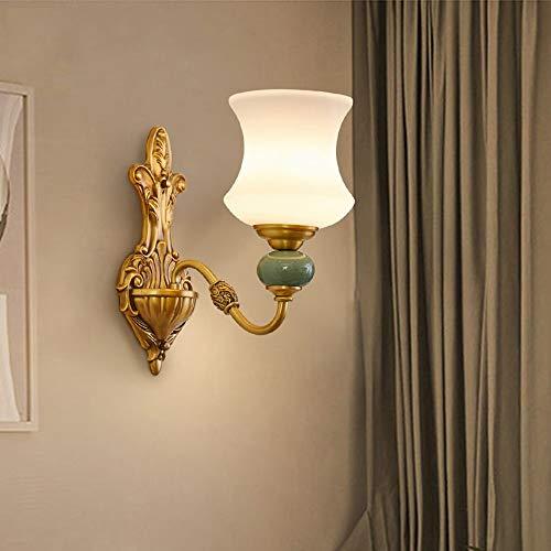 WHSS Dormitorio De Cerámica De Cobre Lámpara De Pared De La Sala De Estar Pared Simple Lámpara De Pared Retro Lámpara LED Luces de Pared (Size : A)