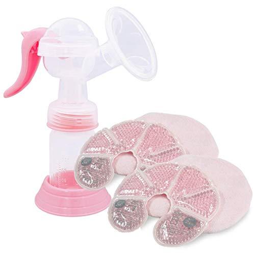 アンジュスマイル さく乳器 手動 吸引力3段階切り替え ハンディ 哺乳瓶付き 搾乳機+母乳パッド
