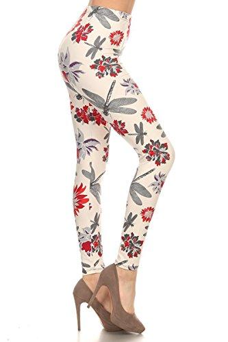 R587-OS Dragonfly Garden Print Fashion Leggings