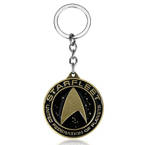 YHX European and American movie accessories, Star Trek logo retro alloy keychain(Color:Golden)
