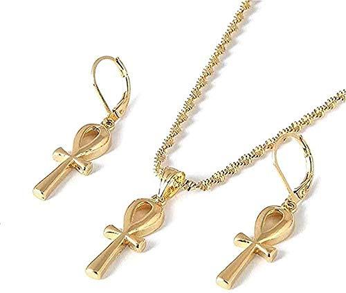 LBBYMX Co.,ltd Collar Moda Color Oro Cruz egipcia Colgante Pendientes Mujer niña Egipto jeroglíficos Cruz Conjuntos de Joyas