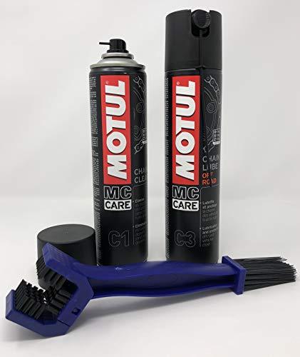 MOTUL MC Care manutenzione catena C1 Chain Clean 400ml C3 Chain Lube Road 400ml + spazzola