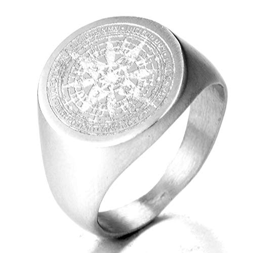 TnSok Simple Stainless Steel Men's Titanium Compass Carved Metal Punk Rock Ring Handsome Ring (Color : Silver, Size : 14)