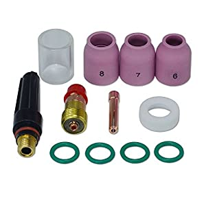 "TIG Stubby Gas Lens 17GL332 3/32"" & #10 Pyrex Cup & TIG Gas Lens Alumina Nozzle Kit Fit DB SR WP 17 18 26 TIG Welding Torch 12pcs from RIVERWELDstore"