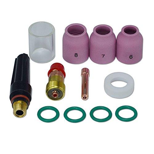 TIG Rechoncho Lente de gas 17 gl332 Pyrex Taza y TIG lente de gas Alúmina boquilla Kit Ajuste Db Sr WP 17 18 26 Tig antorcha de soldadura 12pcs