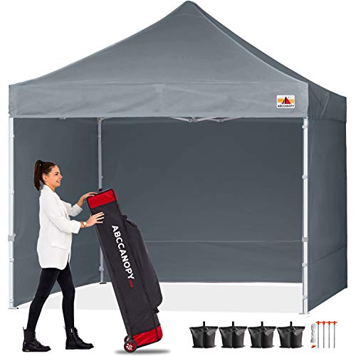 ABCCANOPY Pop Up Gazebo With Side Panels and Door Wall Commercial Shelters Instant Shade And Block Rain, Bonus Upgraded Roller Bag, 4 Weight Bags, Stakes and Ropes