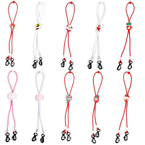 Christmas Kids Face Mask Lanyard, GAUSKY 10 PCS Christmas Element Style Adjustable Anti-Lost Mask Holder Neck Strap Ear Saver Badge Lanyard Rope for Outdoor Sport School and Party