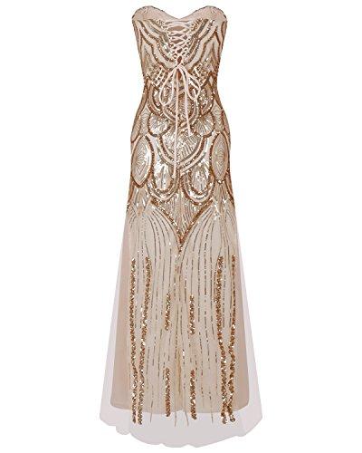 Univegrow vrouwen Notched Strapless paillette-kolom schede jaren 1920 lange jurk