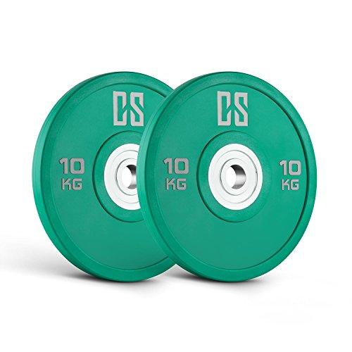 Capital Sports Performan Urethane Discos de peso Pareja 10 kg (Poliuretano, Dead Bounce, ideal barra olímpica o Cross-Training, Weight Drops - Saques, baja fricción, color verde)