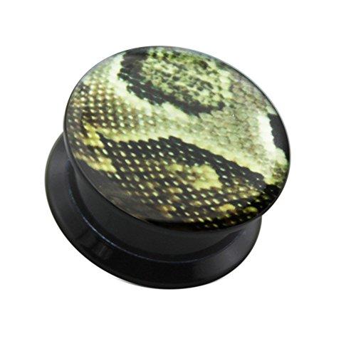 Python huid patroon logo interne schroefdraad dubbel uitgevoerd zwart UV acryl gauge oorsteker piercing