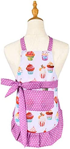 100 Cotton Cute Kids Apron Pink Toddler Apron with Pockets Cupcake kids aprons for girls Adjustable product image