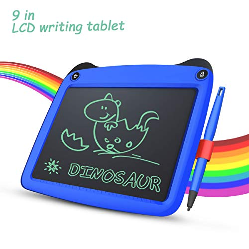 LCD Writing Tablet, 9 Inch Toddler Doodle Board Drawing Tablet, Erasable Reusable Electronic Drawing Pads, Educational and Learning Toy for 2-6 Years Old Boy and Girls (Blue)