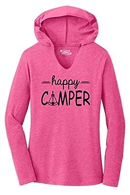 Ladies Hoodie Shirt Happy Camper Cute Hiking Camping Trip Graphic Tee Fuchsia Frost M