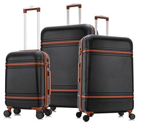 "DK Luggage Lightweight ABS-147 Hard Shell Suitcase 4 Wheel Spinner with Tan Trimming Black Set of 3 Sizes - 28""+24""+20"""