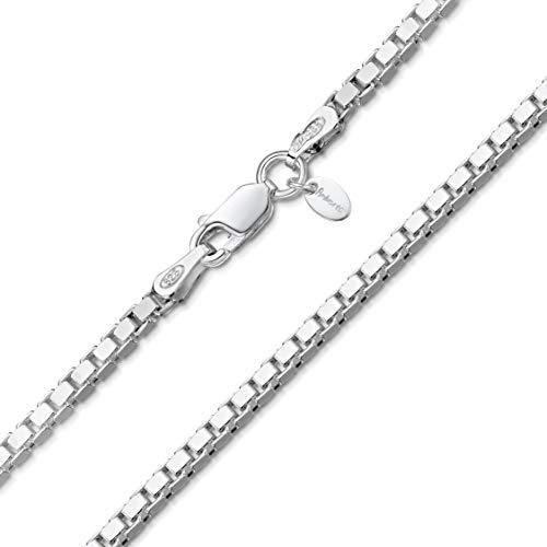 Amberta® Joyería - Collar - Fina Plata De Ley 925 - Cadena de Eslabón Cuadrado - 2 mm - 45 55 65 cm (65cm)