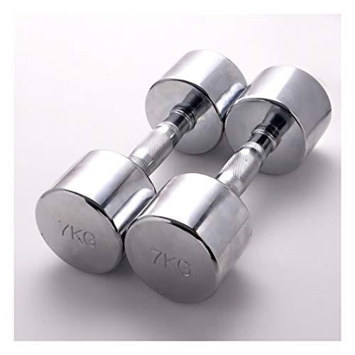 Juego de 2 mancuernas cromadas con asas de metal, fáciles de montar y ahorrar espacio, para gimnasio en casa (peso: 14 kg x 2)