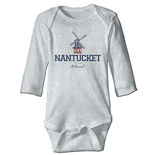 Body de manga larga para bebé, unisex, para bebé, Nantucket Island, para niños, de manga larga, traje de sol, color ceniza
