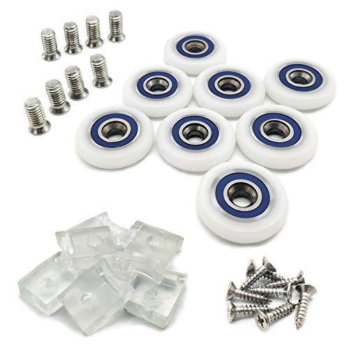 8 piezas de diámetro de 25 mm/1 pulgada para puerta de ducha, ruedas de ducha con tornillos. 8 piezas de bloque transparente anticolisión. Tornillos de acero inoxidable 304 a juego