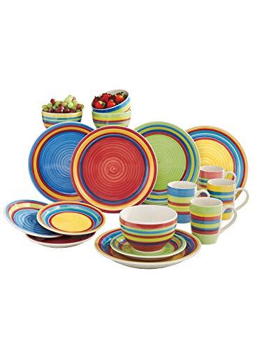 16 Pc Hand-Painted Striped Dinnerware Set