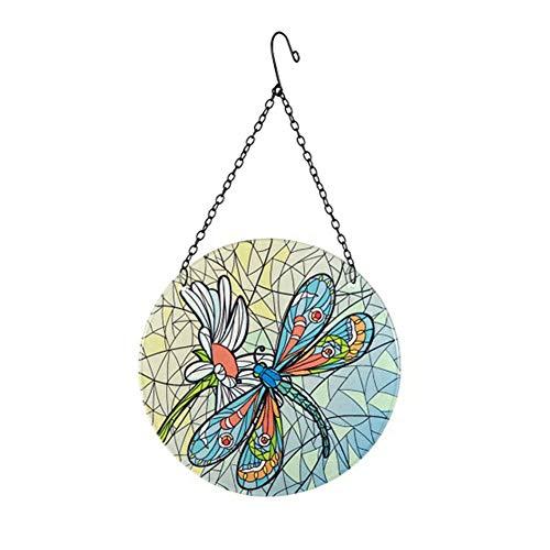 ISAKEN Bunte Libelle Buntglasscheibe zum Aufhängen mit Kette, handgefertigtes Buntglasornament für Fenster, Wand, Heimdekoration