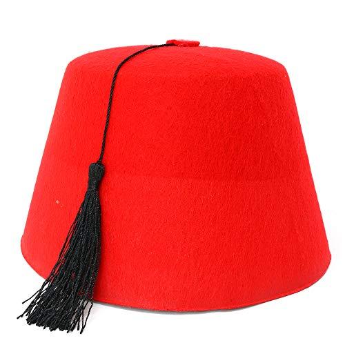 Skeleteen Arabian Red Fez Hat - Moroccan Costume Accessory Fez Hats With Black Tassel - 1 Piece