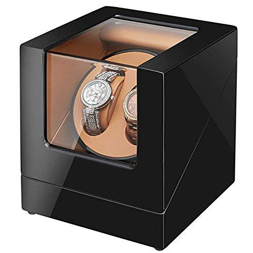 Caja para reloje Reloj Automático De Madera Caja De Winder para 2 Relojes, Víspera Mostrar Caja con Motor Mabuchi Y Suministro De Energía Dual Día del Padre Regalo