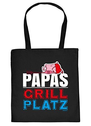 Vater Griller Tasche Grillzubehör Tragetasche Grill : Papas Grill Platz - Papa Sprüche Baumwolltasche Grillen -Farbe: schwarz
