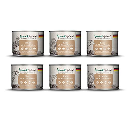 Venandi Animal Premium Nassfutter für Katzen, Probierpaket III, Huhn, Ente, Rind, Pferd, Kalb, Truthahn, 6 x 200 g, Getreidefrei und Naturbelassen, 1.2 kg