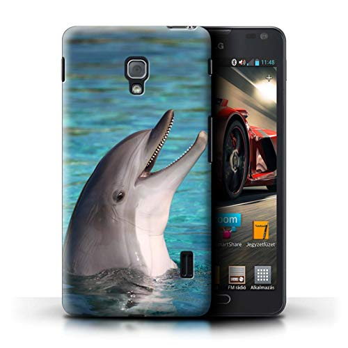 Stuff4® Hülle/Case für LG Optimus F6 / Nettes Lachen Muster/Delfine Meereslebens Kollektion