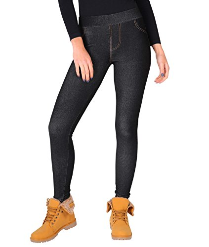 KRISP 7267-BLK-SM: Fleece Gefütterte Thermo Jeggings Leggings (Schwarz, Gr.S/M)