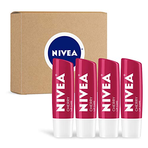 NIVEA Cherry Lip Care - Tinted Lip Balm for Beautiful, Soft Lips, Pack of 4
