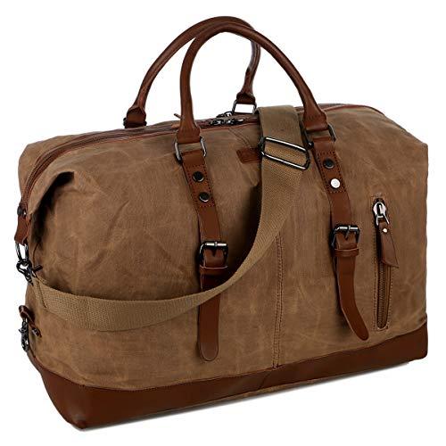 BAOSHA Waxed Canvas Travel Duffel Bag Carry on Weekender Overnight Bag for Men HB-14 (Waxed Brown)