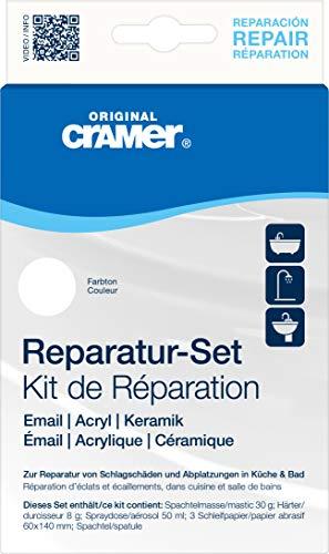 Cramer 16002DE Reparatur-Set Email, Acryl, Keramik, reinweiß – zur dauerhaften Reparatur von Badewannen, Duschwannen und Waschbecken