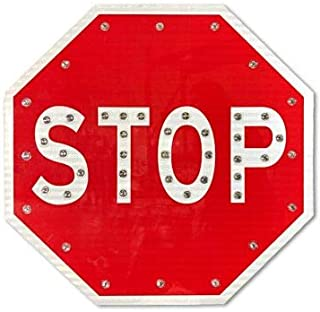 hand held stop sign with led lights