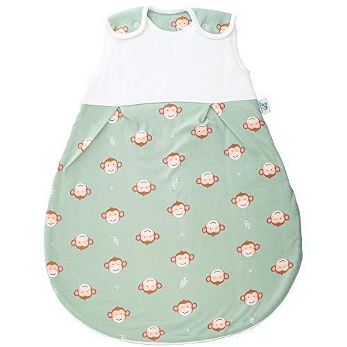 Hosenmax Premium Babyschlafsack Neugeborene – Bio Baumwolle – Ganzjahres Schlafsack Baby – Kugelschlafsack – Frecher Affe - entspricht 2.5 TOG - mitwachsender Schlafsack (Frecher Affe, 62/68)