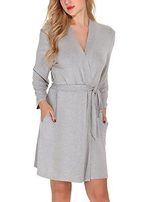 Etopstek Women Bathrobes Breathable Robes Soft Kimono Lightweight Short Cotton Loungewear Hotel Spa Robes