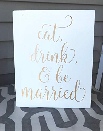 Free Brand Letreros de madera de granja decoración de porche, boda, decoración de boda, boda moderna, boda clásica, carteles de boda, texto en inglés 'Eat drink be married'
