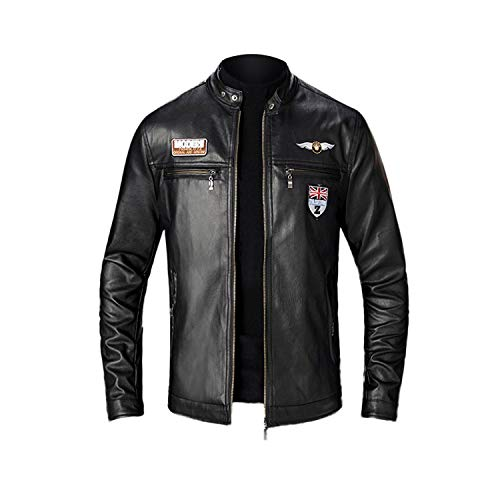 sexy-drunk Men's Leather Jackets Autumn Winter Slim Leather Jacket Fashion Motorcycle Black Coat Tops Blouse New-Black-L