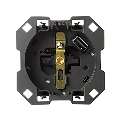 Base de enchufe francesa 16A 250V~ con cargador USB 2.1 con Smartcharge 5V/DC Tipo A, serie 100, 2 x 7,5 x 7,5 centímetros, color negro (referencia: 10001458-039)