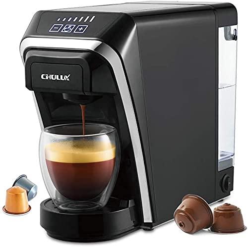 CHULUX Macchina da caffè a capsule 2 in 1 compatibile con capsule Nespresso e DG con struttura della capsula a compressione automatica-nera