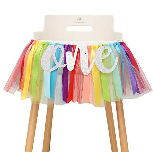 Rainbow Theme High Chair Banner - First Birthday Party Banner - Smash Cake Photo Prop - 1st Birthday Photo Backdrop - Sunshine 1st Birthday. (Rainbow)