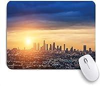 KAPANOU マウスパッド、ロサンゼルスの街の日の出プリント おしゃれ 耐久性が良い 滑り止めゴム底 ゲーミングなど適用 マウス 用ノートブックコンピュータマウスマット