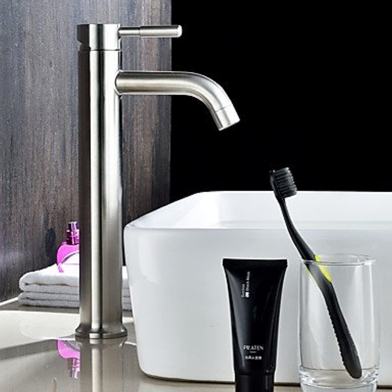 ZYT Contemporary Vessel Widespread with Ceramic Valve Single Handle One Hole for Nickel Brushed , Bathroom Sink Faucet