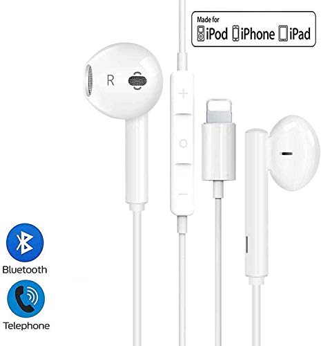 Lighting Headphones/Earphones/Earbuds, Built-in Microphone and Volume Control,Suitable for Apple iPhone 11 Pro Max/X/XS/XS MAX/XR/8/8P/7/7P/iPad Pro/iPad Air/iPad Mini/iPod (White)